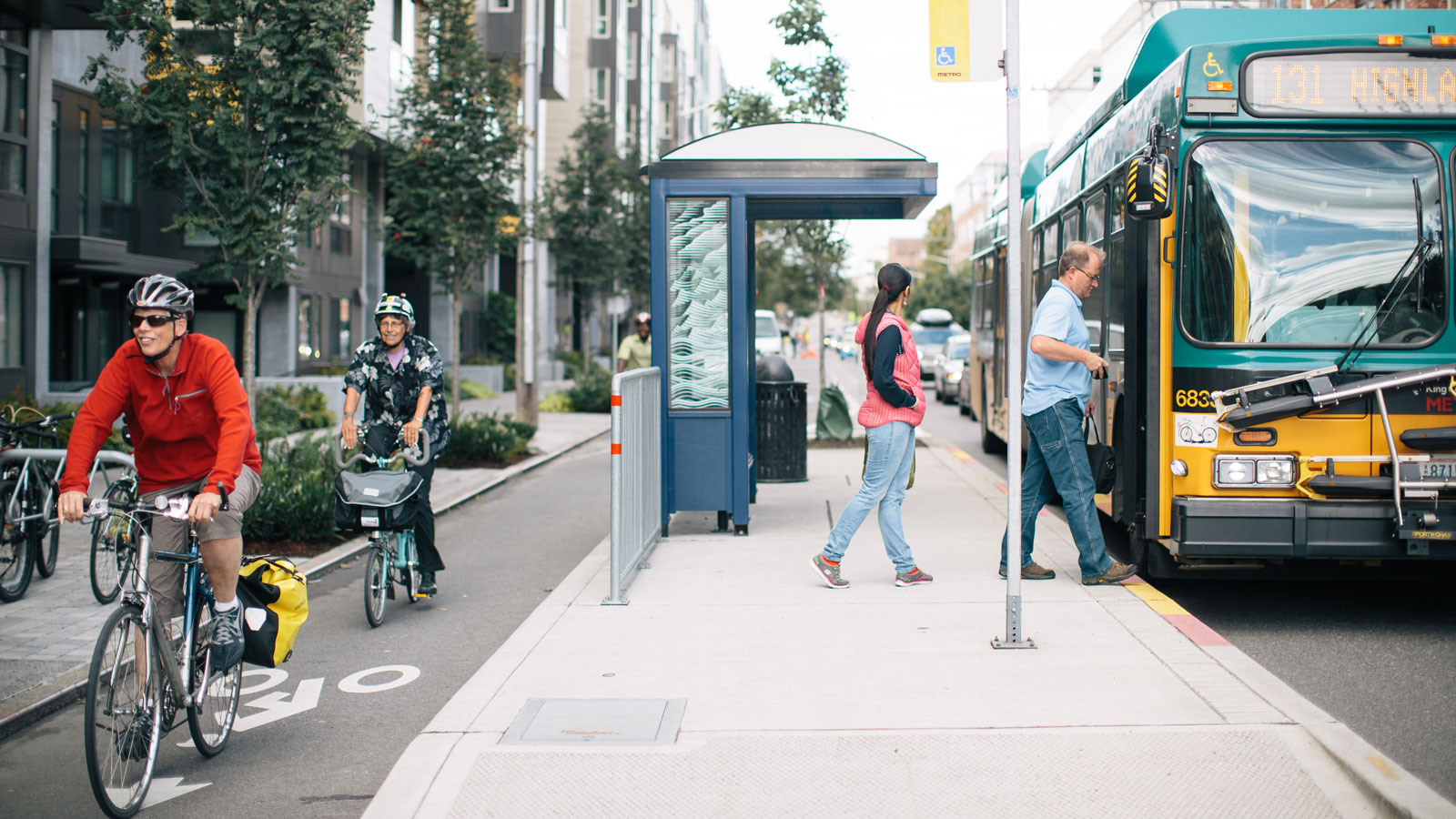 <h4>DESTINATION: ZERO CARBON</h4><h5>We're working to make all new cars electric by 2035, all buses electric by 2030, and to double the number of people who travel on foot, bike or public transit by 2030.</h5>